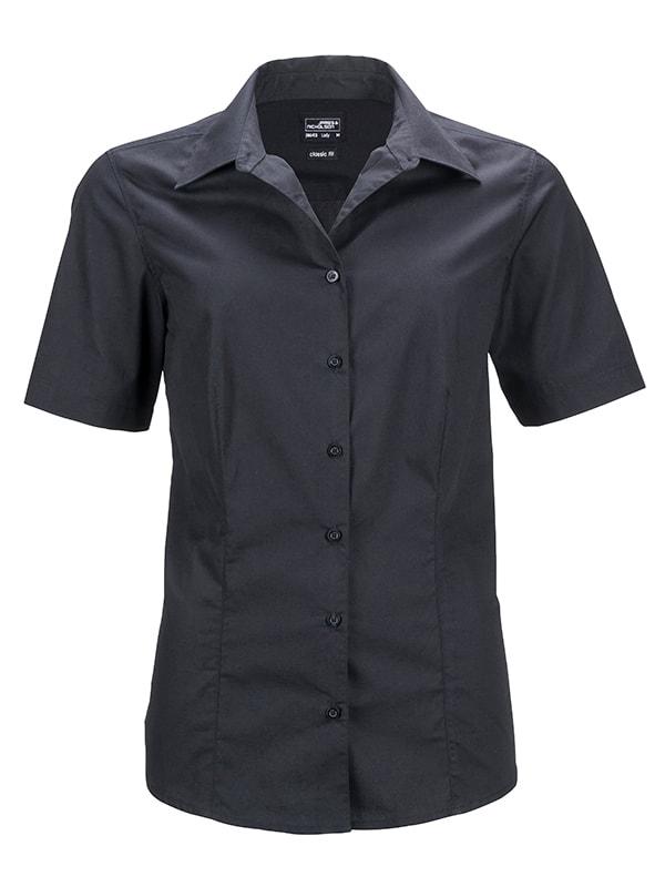 James & Nicholson Dámská košile s krátkým rukávem JN643 - Černá | M