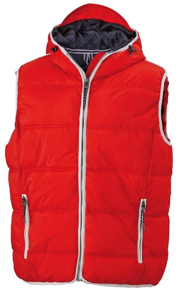 James & Nicholson Pánska vesta s kapucňou JN1076 - Červená / bílá | XXXL
