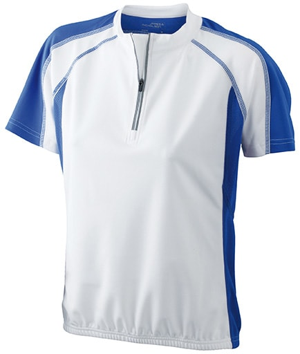 James & Nicholson Dámske cyklistické tričko JN419 - Bílá / královská modrá | M