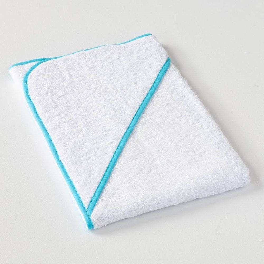 Levně Dobrý Textil Dětská osuška s kapucí - Bílá / světle modrá