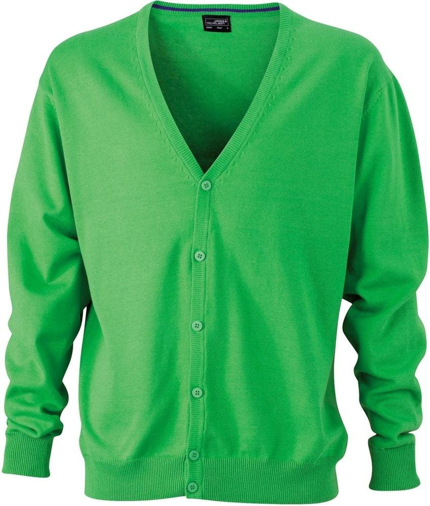 James & Nicholson Pánský bavlněný svetr JN661 - Zelená | S