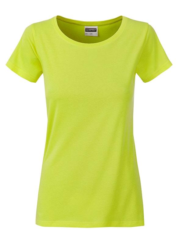 James & Nicholson Klasické dámske tričko z biobavlny 8007 - Žlutozelená | XL