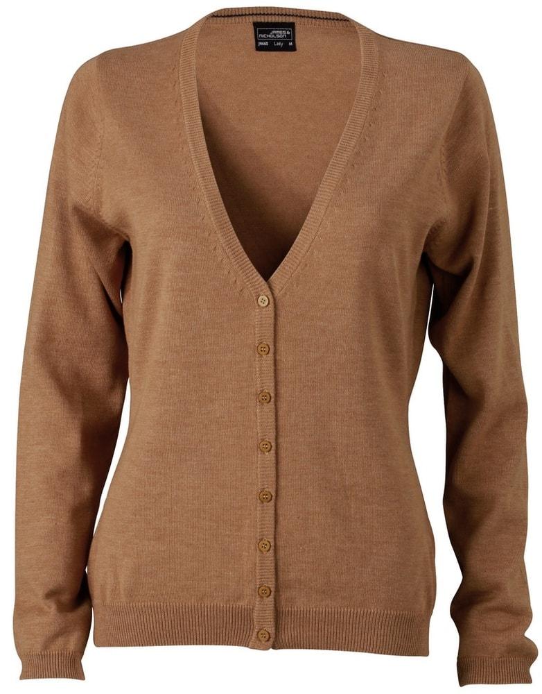 James & Nicholson Dámský bavlněný svetr JN660 - Camel | L