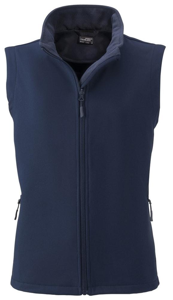 James & Nicholson Dámska softshellová vesta JN1127 - Tmavě modrá / tmavě modrá | L