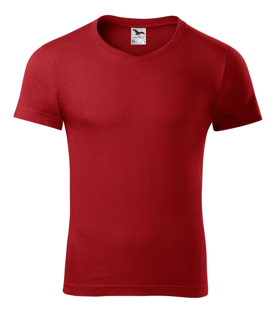 Adler Pánske tričko Slim Fit V-neck - Červená | L