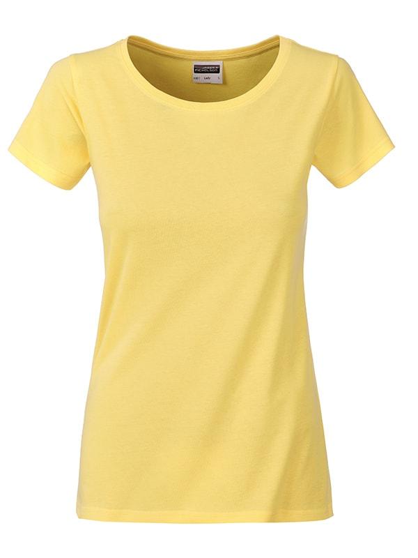 James & Nicholson Klasické dámske tričko z biobavlny 8007 - Světle žlutá | S