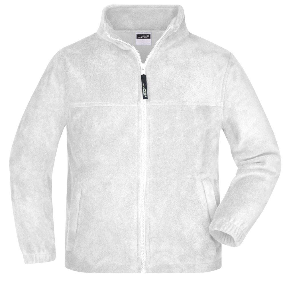 James & Nicholson Detská fleece mikina JN044k - Bílá   XL