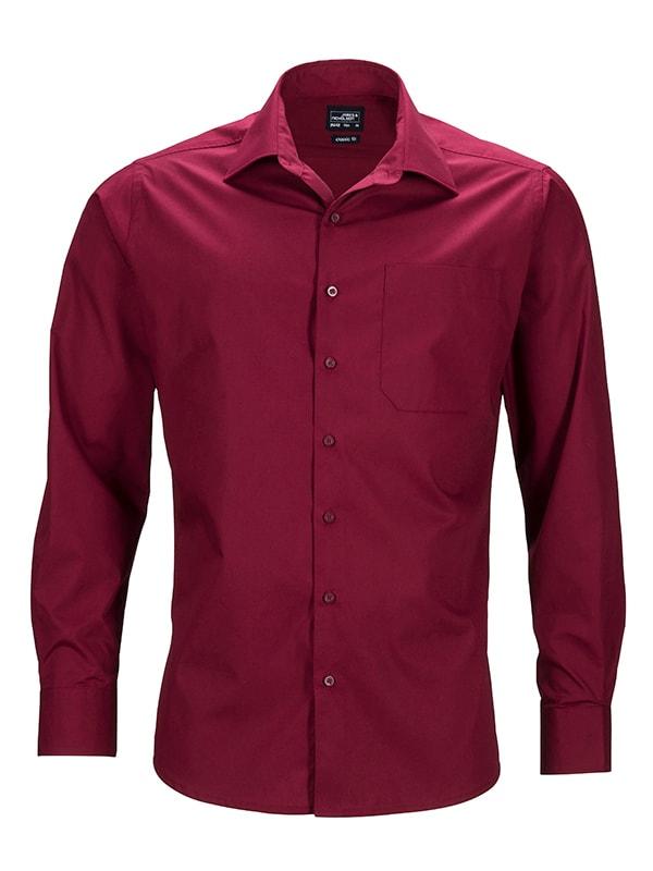 James & Nicholson Pánská košile s dlouhým rukávem JN642 - Vínová | XXL