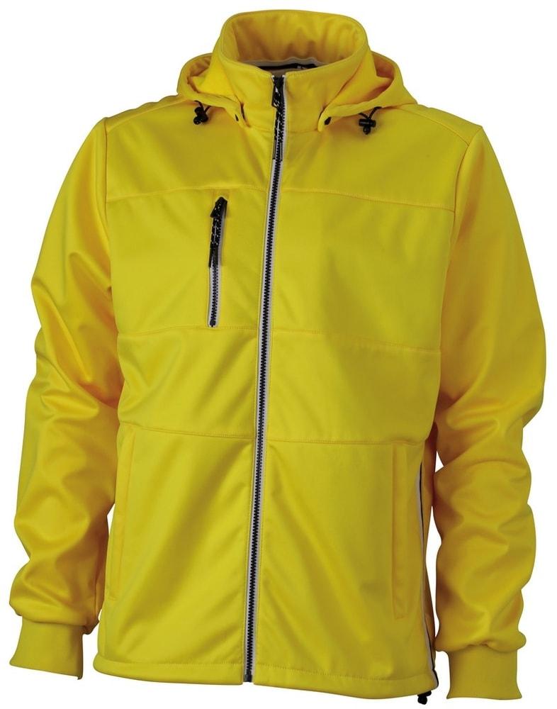 James & Nicholson Pánska športová softshellová bunda JN1078 - Slunečně žlutá / tmavě modrá / bílá   L
