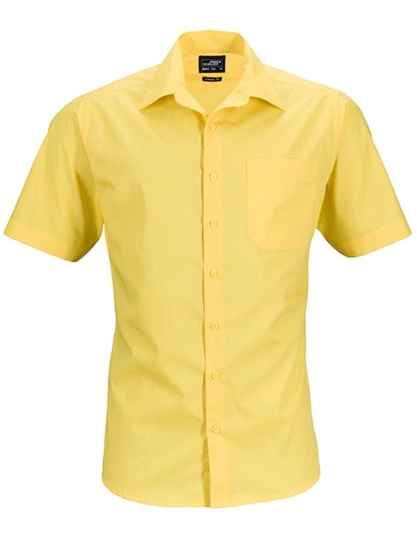 James & Nicholson Pánská košile s krátkým rukávem JN644 - Žlutá | M