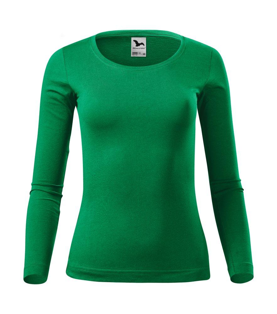 Adler (MALFINI) Dámske tričko s dlhým rukávom Fit-T Long Sleeve - Středně zelená | XXL