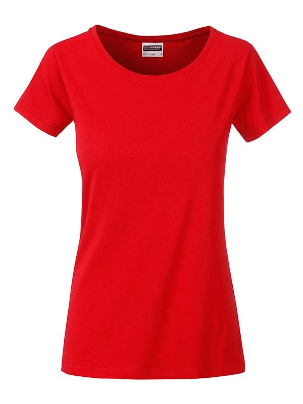 James & Nicholson Klasické dámske tričko z biobavlny 8007 - Tomato | XL