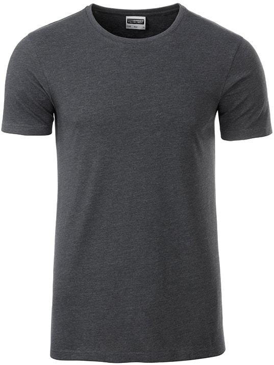 James & Nicholson Klasické pánske tričko z biobavlny 8008 - Černý melír   L
