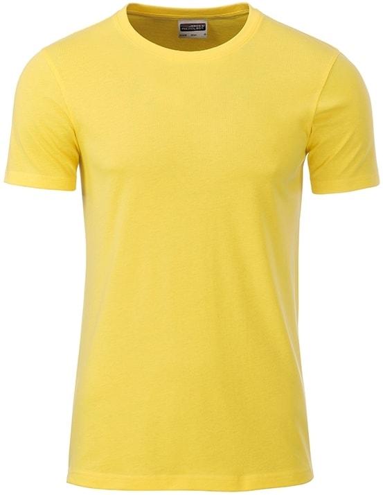James & Nicholson Klasické pánske tričko z biobavlny 8008 - Žlutá | XXL