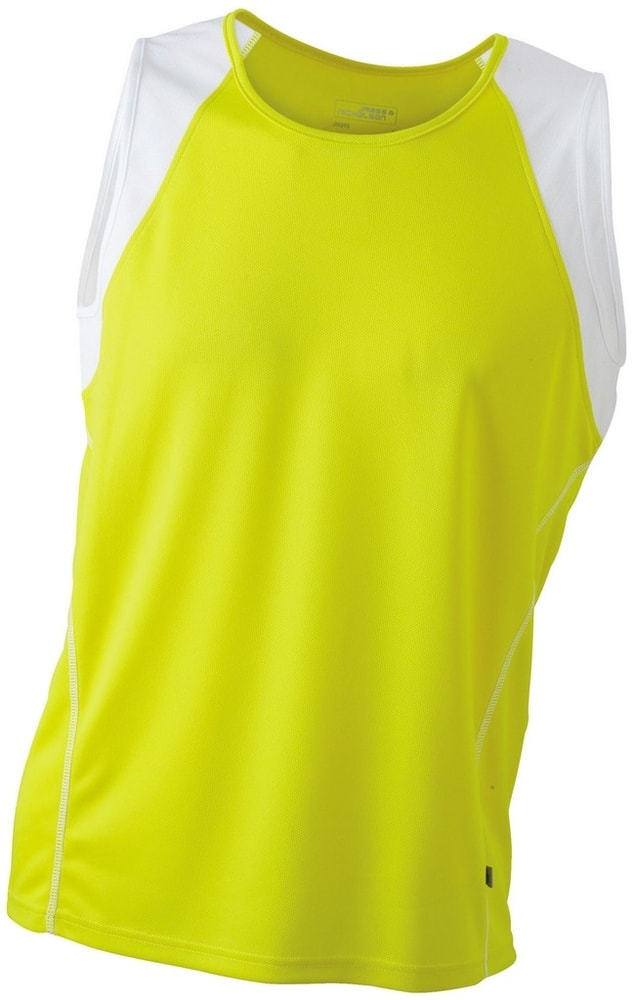 James & Nicholson Pánske bežecké tričko bez rukávov JN395 - Žlutá / bílá | XXL