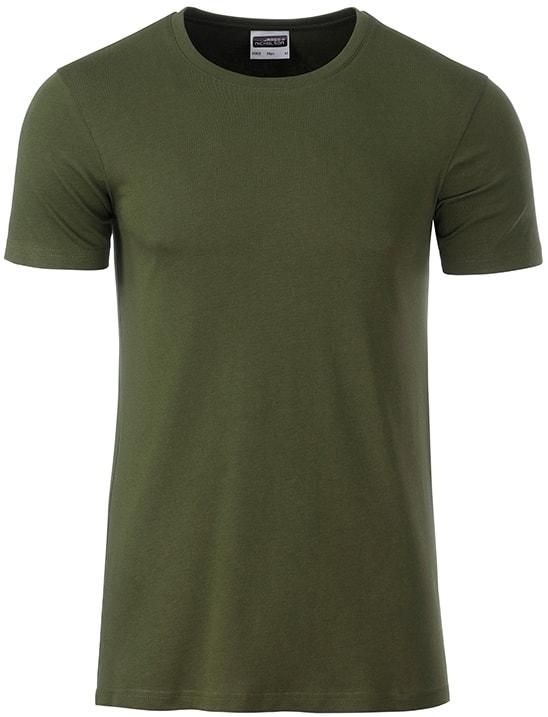 James & Nicholson Klasické pánske tričko z biobavlny 8008 - Olivová | XXL