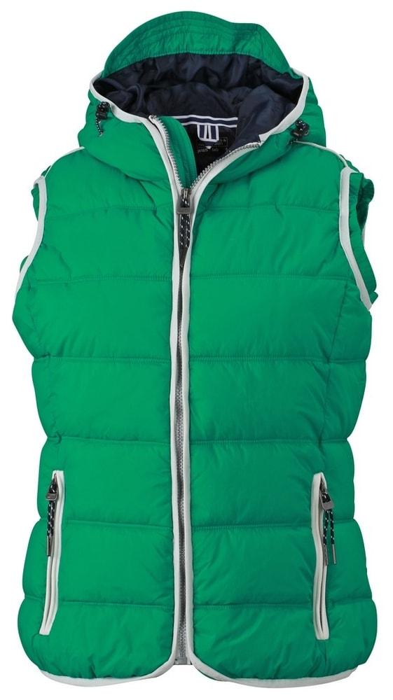 James & Nicholson Dámska športová vesta JN1075 - Irská zelená / bílá | S