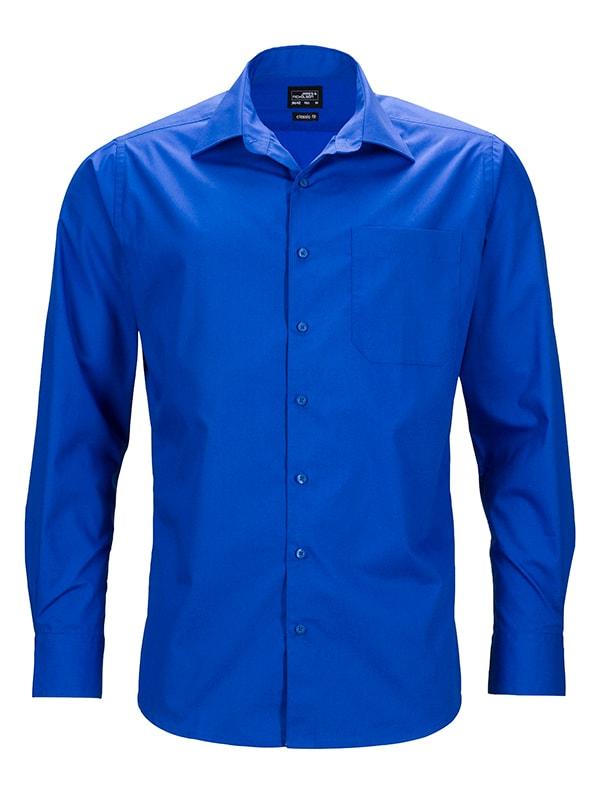 James & Nicholson Pánská košile s dlouhým rukávem JN642 - Královská modrá | M
