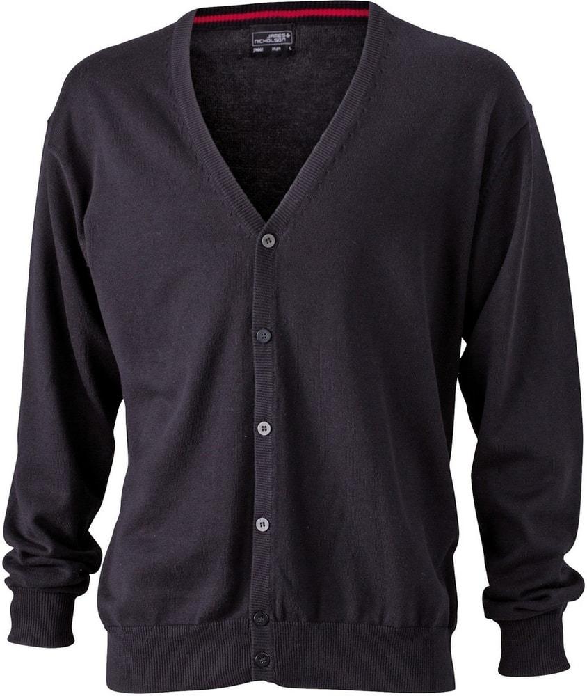 James & Nicholson Pánský bavlněný svetr JN661 - Černá   L