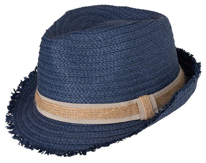 Myrtle Beach Letní slaměný klobouk MB6703 - Džínová / písková   L/XL