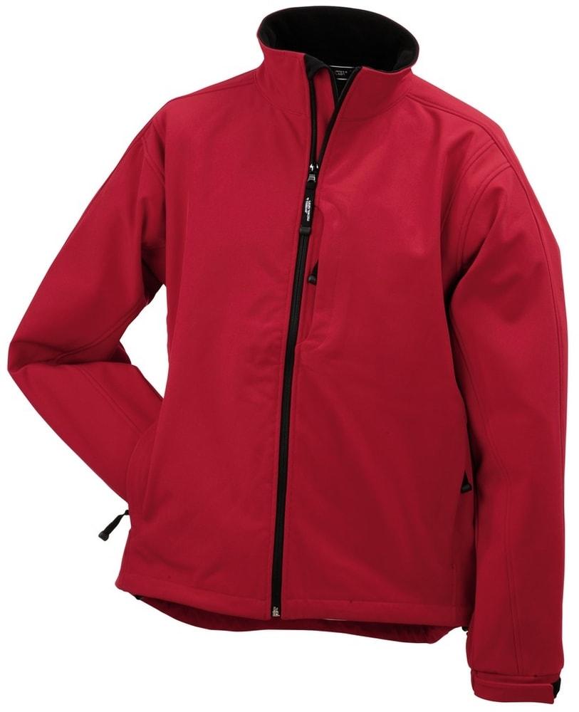 James & Nicholson Pánska softshellová bunda JN135 - Červená   XXXL