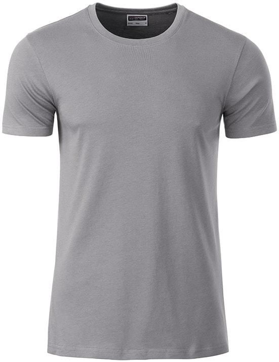 James & Nicholson Klasické pánske tričko z biobavlny 8008 - Ocelově šedá | XXL