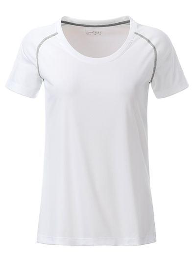 James & Nicholson Dámske funkčné tričko JN495 - Bílá / stříbrná | M