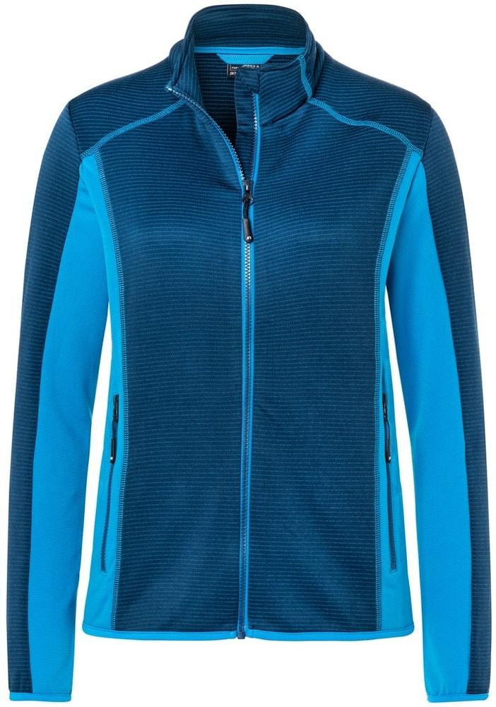 James & Nicholson Dámska strečová fleecová mikina JN783 - Tmavě modrá / jasně modrá | S