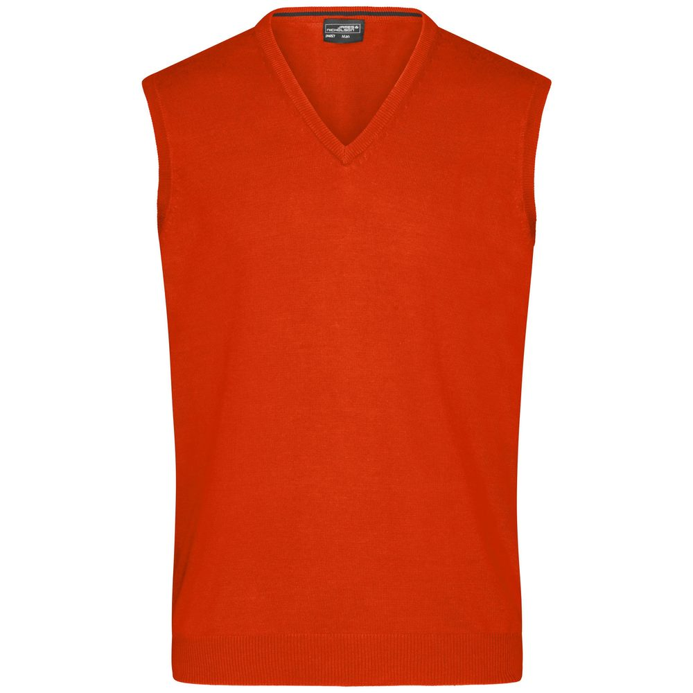 James & Nicholson Pánsky sveter bez rukávov JN657 - Tmavě oranžová | M