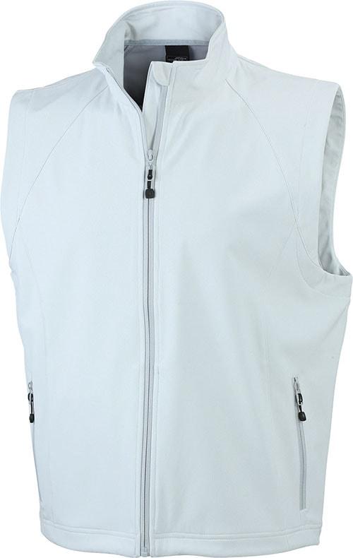James & Nicholson Pánska softshellová vesta JN1022 - Šedo-bílá | XXXL