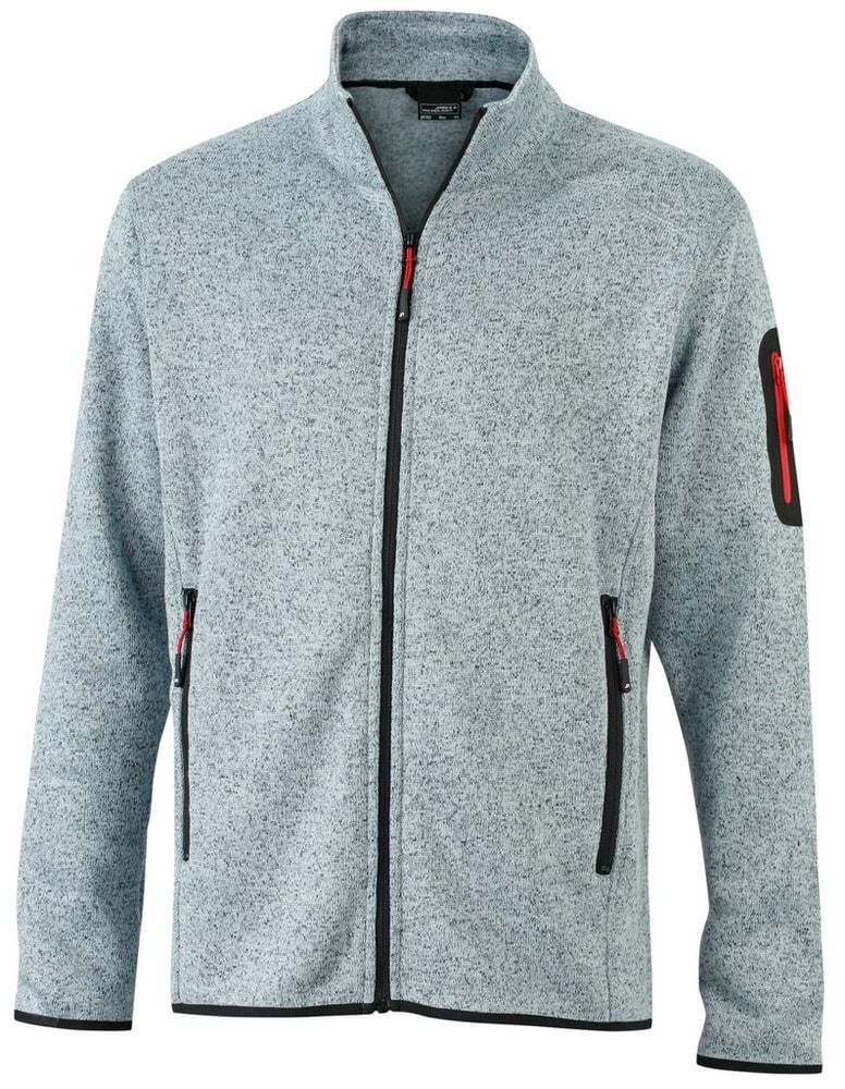 James & Nicholson Pánska bunda z pleteného fleecu JN762 - Světle šedý melír / červená   XXXL