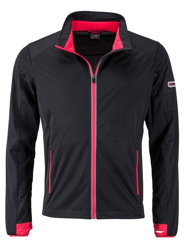 James & Nicholson Pánska športová softshellová bunda JN1126 - Černá / světle červená   XXXL