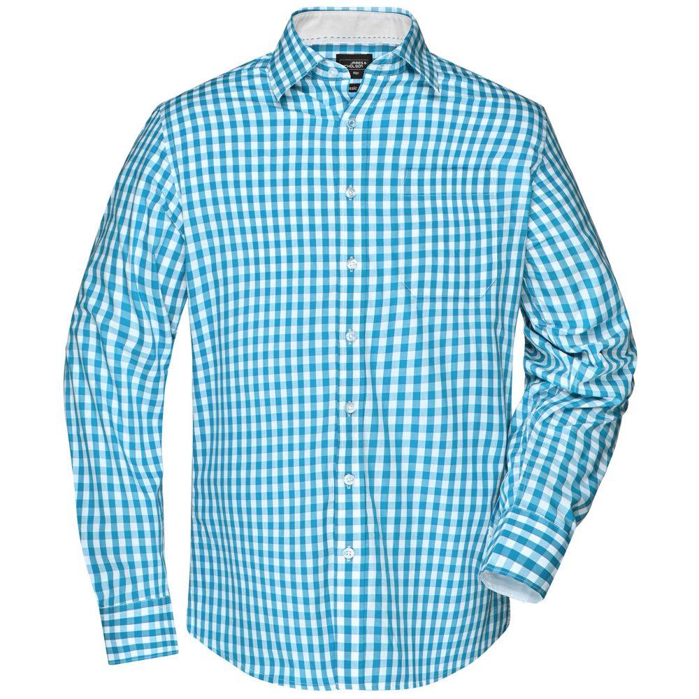 James & Nicholson Pánská kostkovaná košile JN617 - Tyrkysová / bílá   L