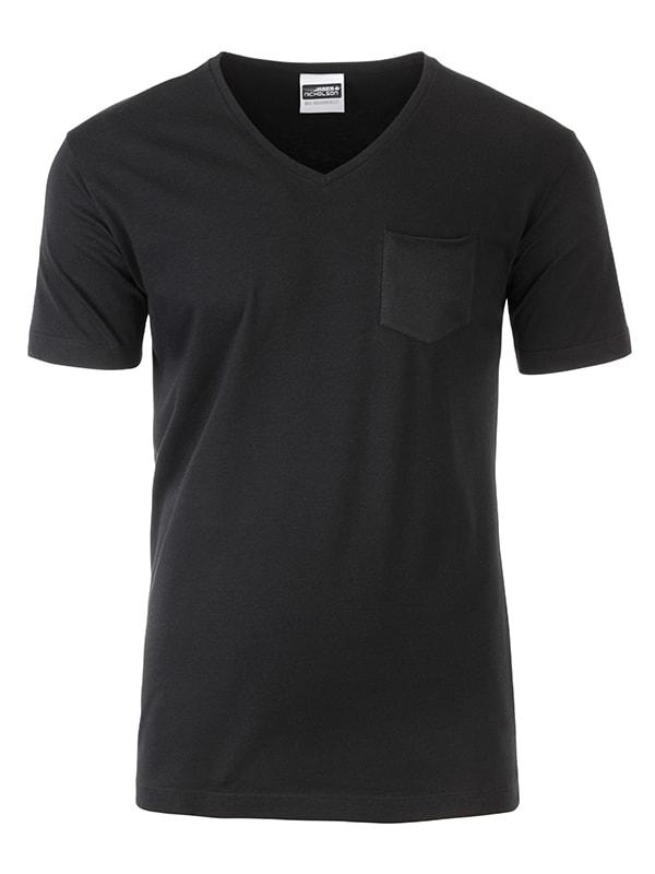 James & Nicholson Pánske tričko z biobavlny 8004 - Černá | XXL