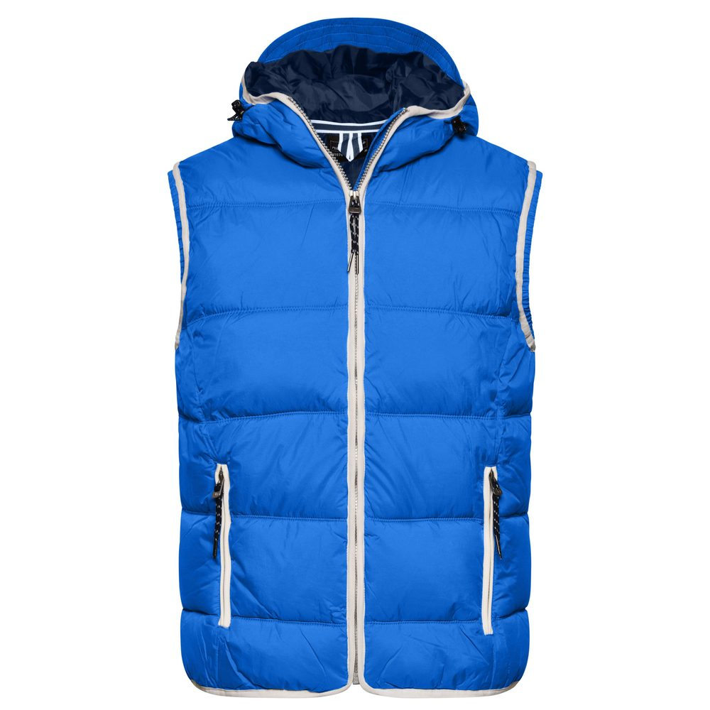 James & Nicholson Pánska vesta s kapucňou JN1076 - Světle modrá / bílá   L