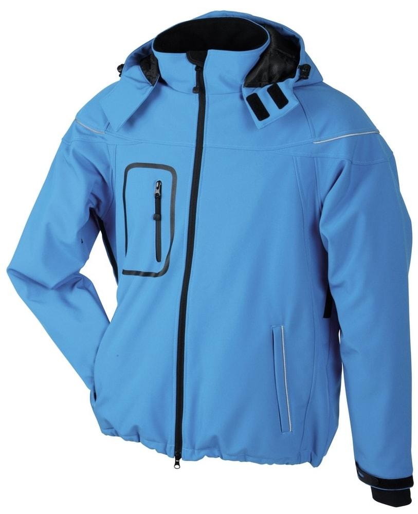 James & Nicholson Zimní pánská softshellová bunda JN1000 - Aqua | L
