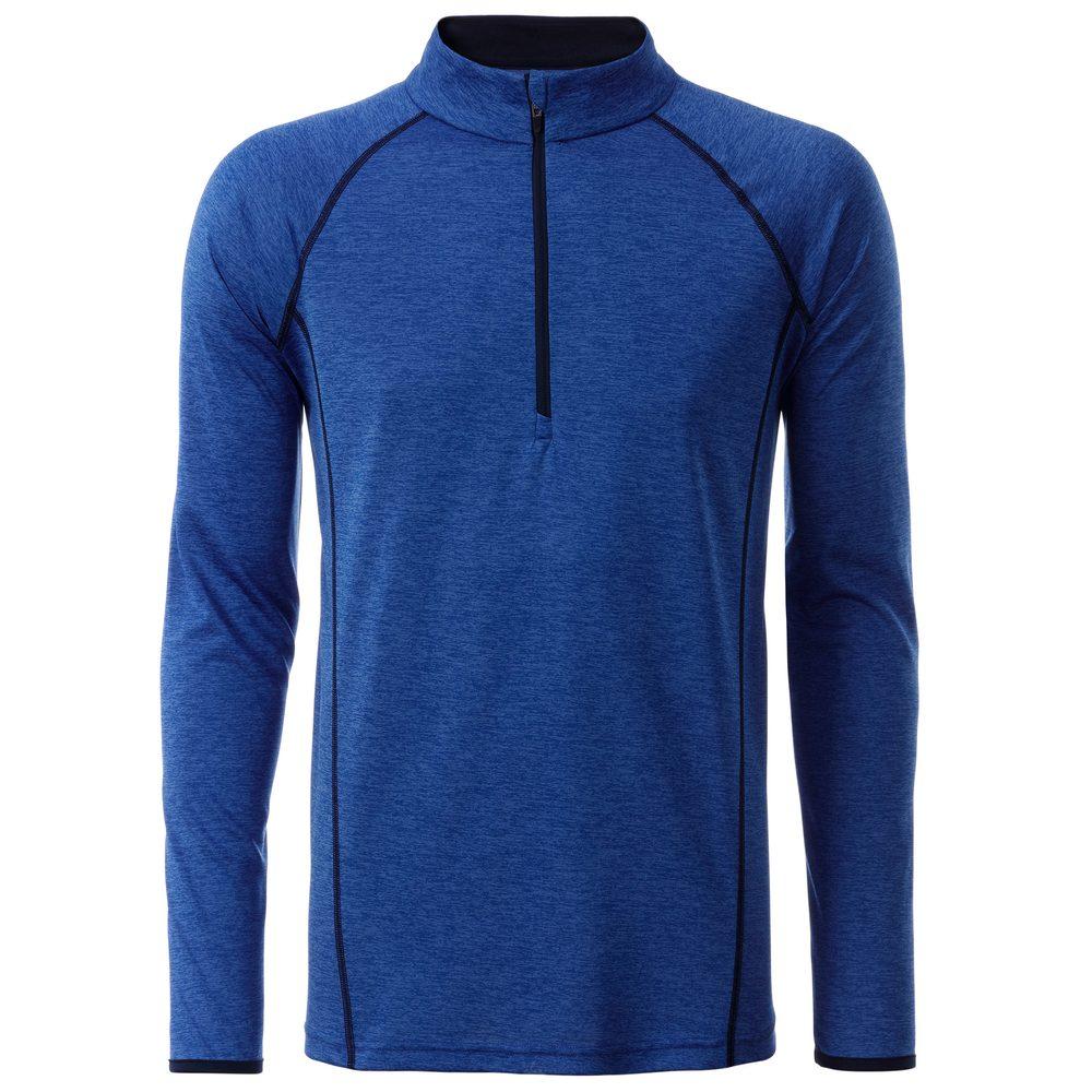 James & Nicholson Pánske funkčné tričko s dlhým rukávom JN498 - Modrý melír / tmavě modrá | S