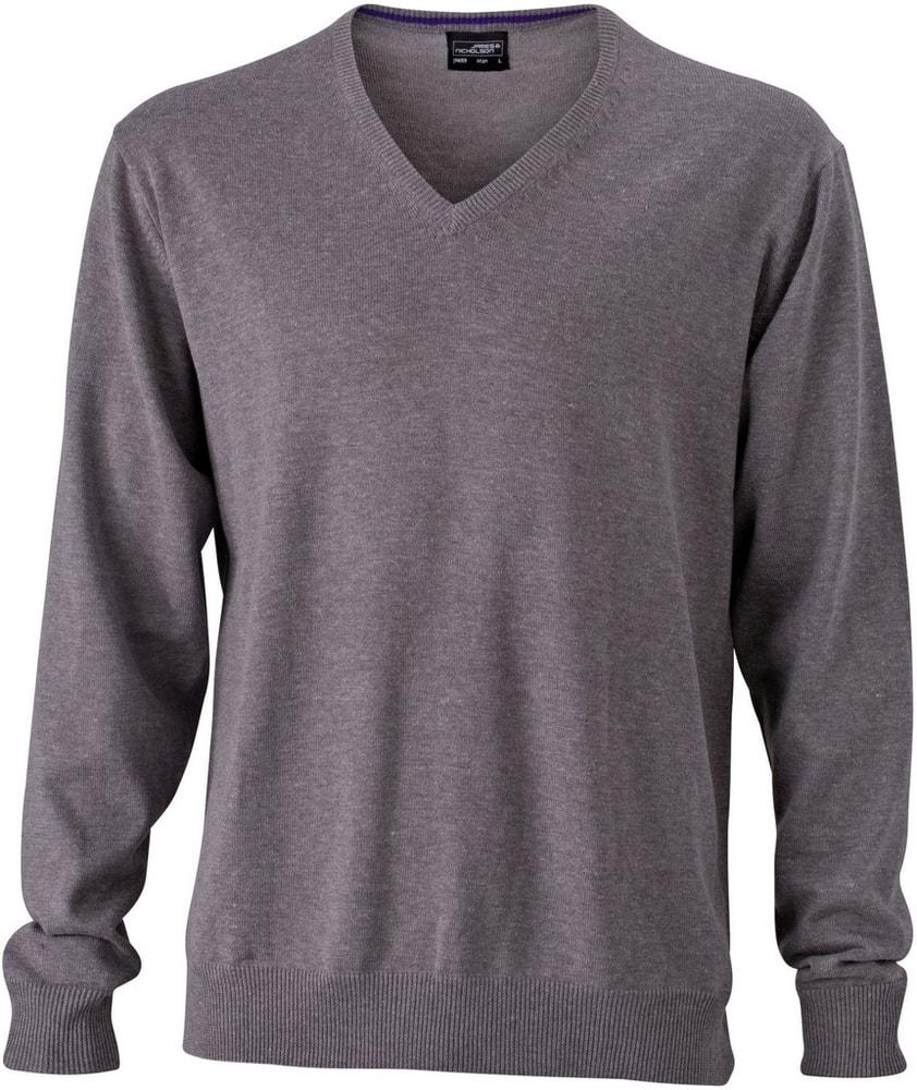 James & Nicholson Pánský bavlněný svetr JN659 - Šedý melír   M