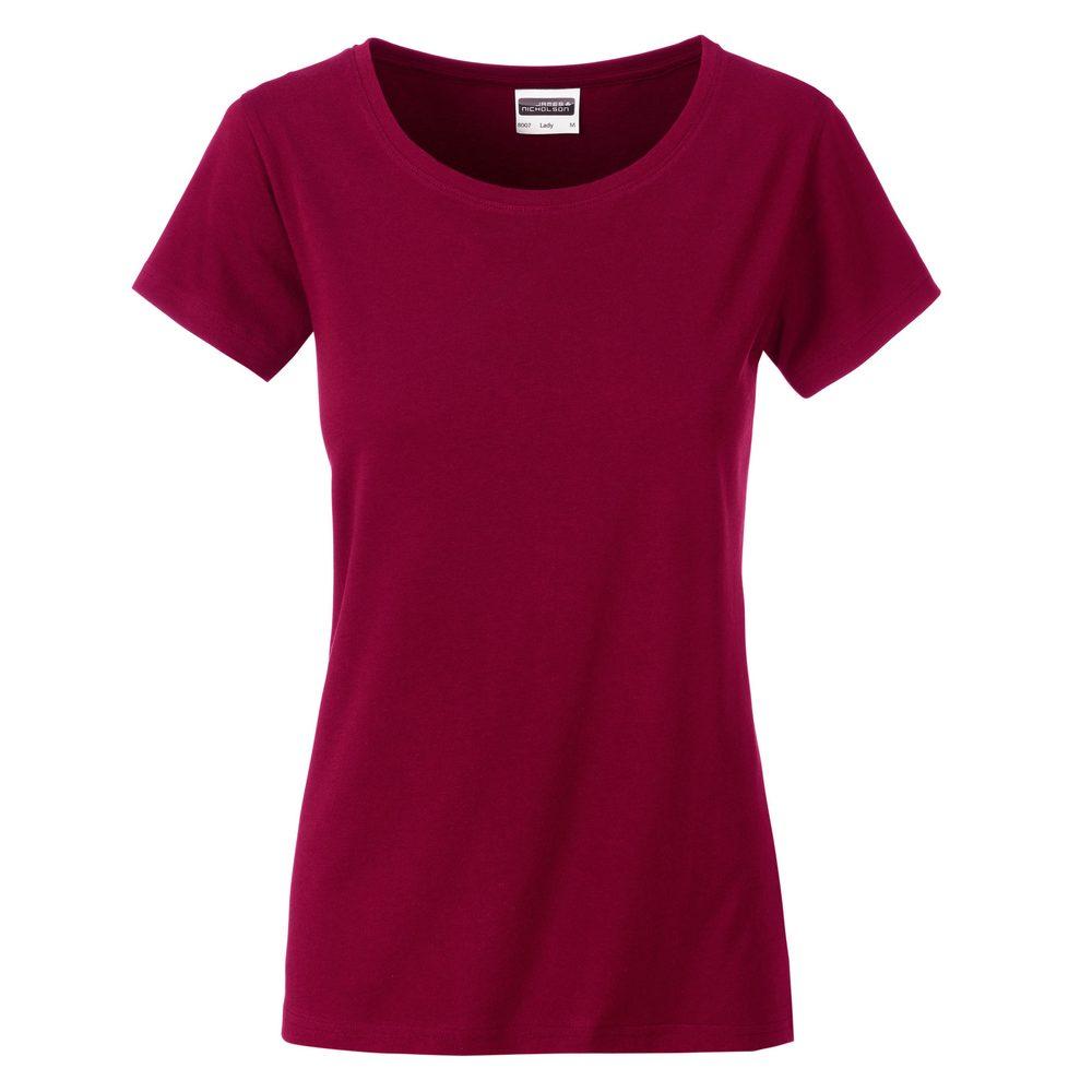 James & Nicholson Klasické dámske tričko z biobavlny 8007 - Vínová | M