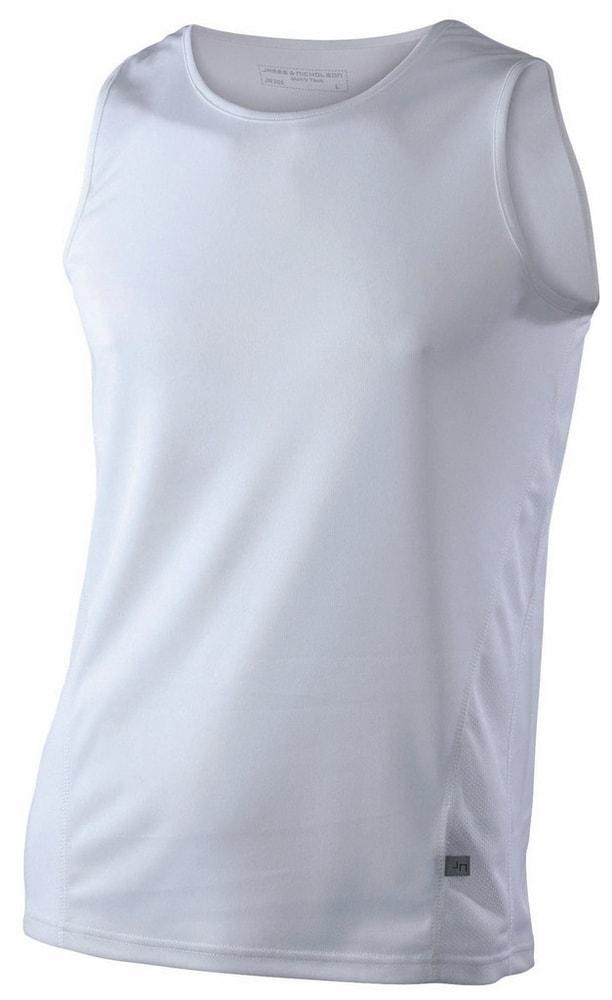 James & Nicholson Pánske športové tričko bez rukávov JN305 - Bílá / bílá | XL
