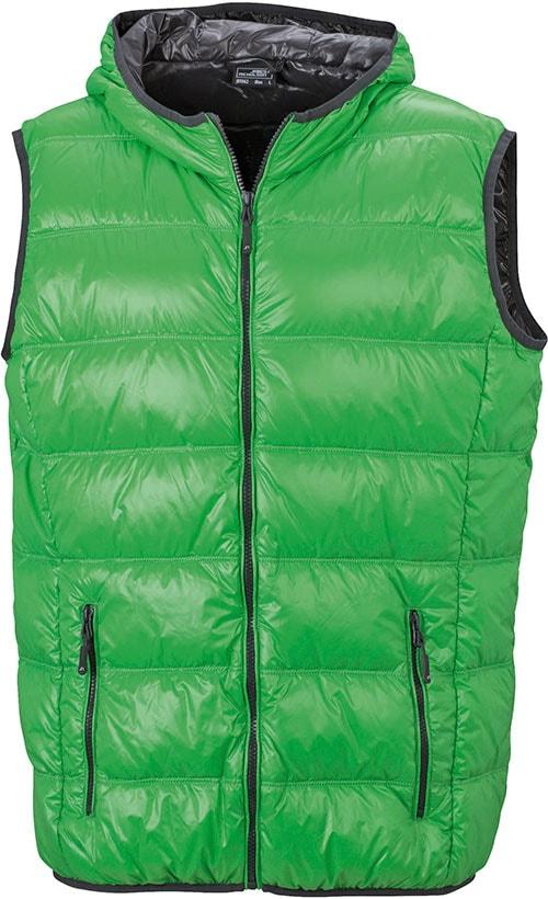 James & Nicholson Ľahká pánska páperová vesta JN1062 - Zelená / tmavě šedá   XXL