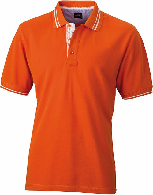 James & Nicholson Pánska polokošeľa JN947 - Tmavě oranžová / šedo-bílá | M