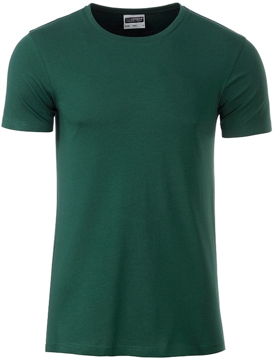 James & Nicholson Klasické pánske tričko z biobavlny 8008 - Tmavě zelená | XXL