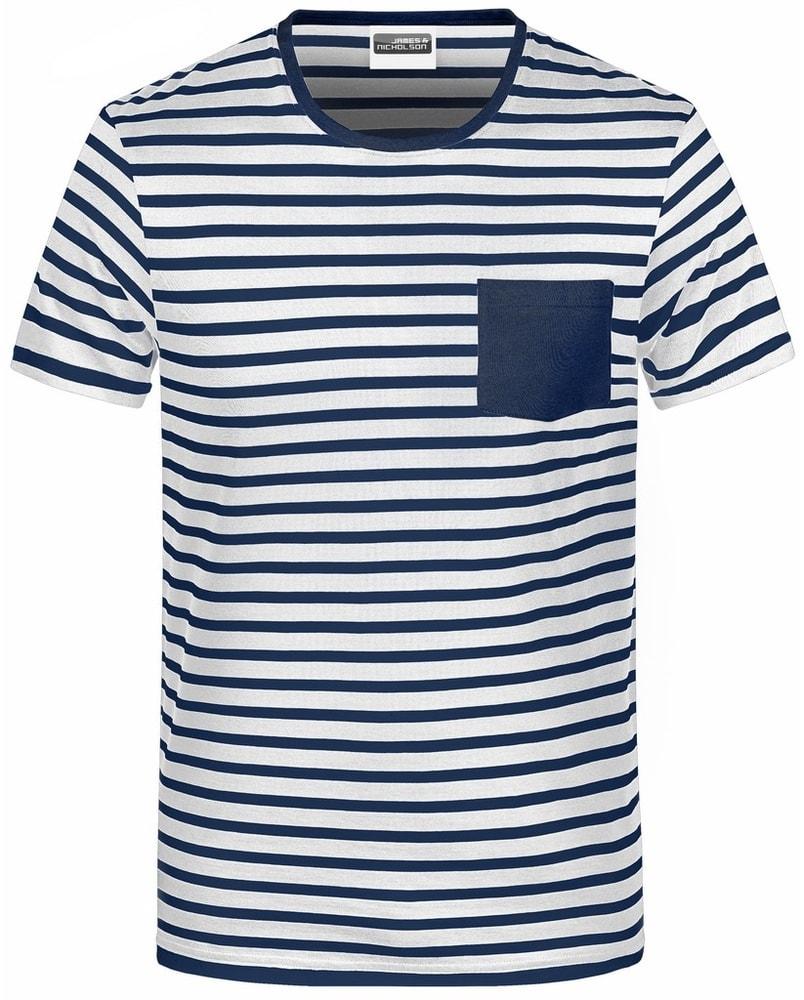 James & Nicholson Pánske pruhované tričko z biobavlny 8028 - Bílá / tmavě modrá | XL