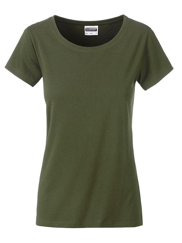 James & Nicholson Klasické dámske tričko z biobavlny 8007 - Olivová | XL