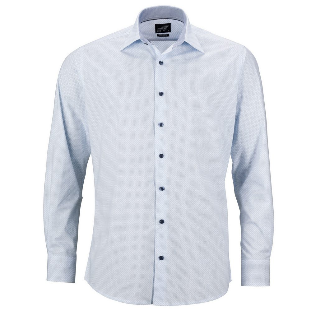 James & Nicholson Pánská luxusní košile Diamonds JN670 - Bílá / světle modrá | M