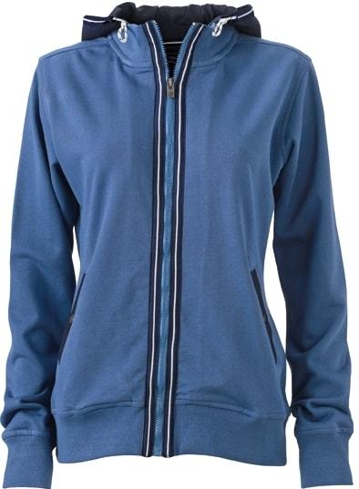 Dámská mikina s kapucí na zip JN995 - Džínová / tmavě modrá | XXL