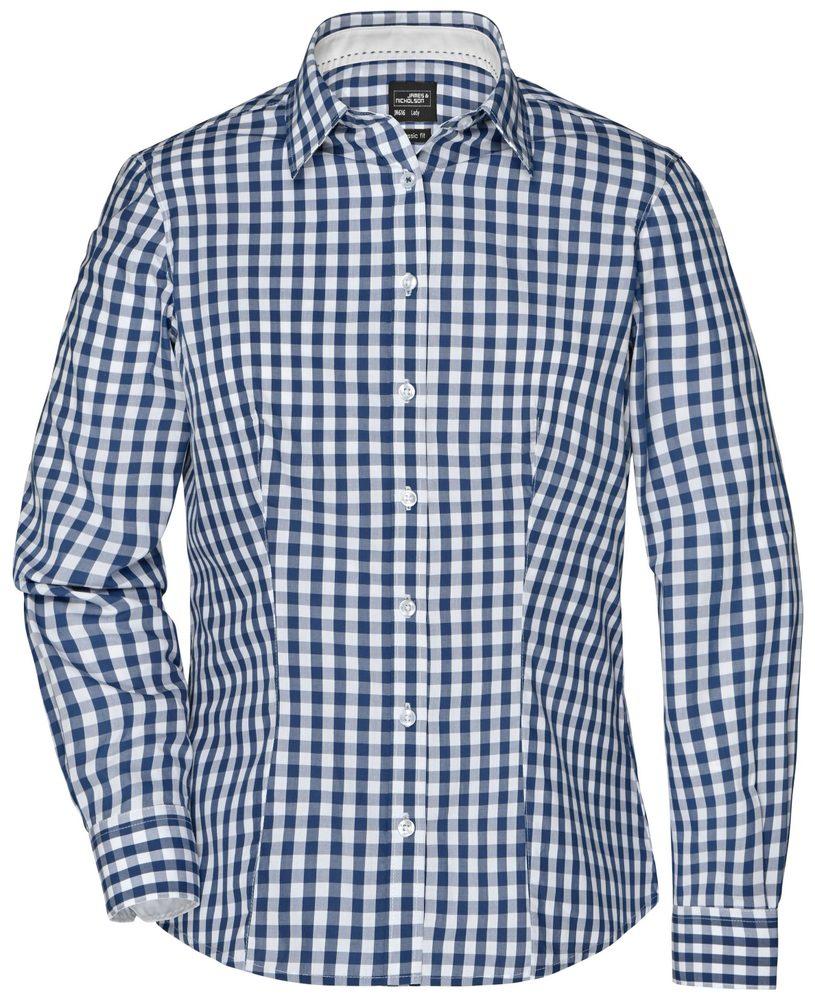 James & Nicholson Dámská kostkovaná košile JN616 - Tmavě modrá / bílá | S