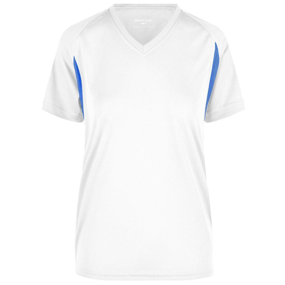 James & Nicholson Dámské sportovní tričko s krátkým rukávem JN316 - Bílá / královská modrá | XXL
