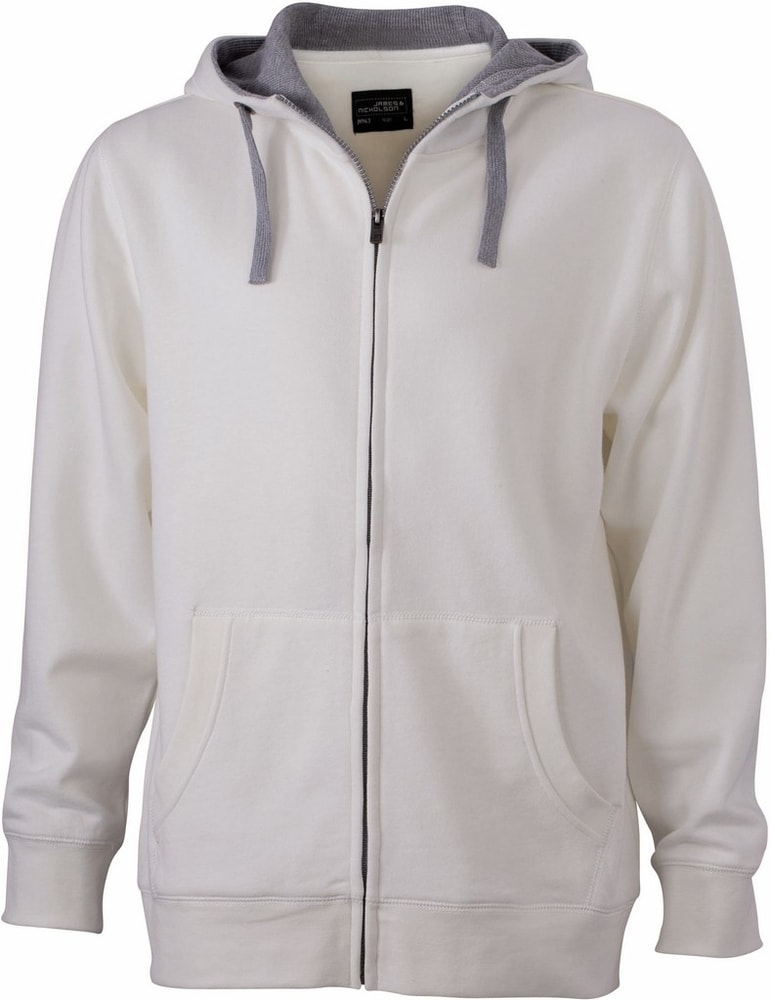 James & Nicholson Pánská mikina na zip s kapucí JN963 - Šedo-bílá / šedý melír | L